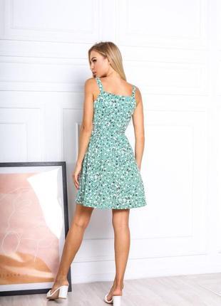 Платье летнее женское короткое мини цветочное легкое сарафан на бретелях6 фото