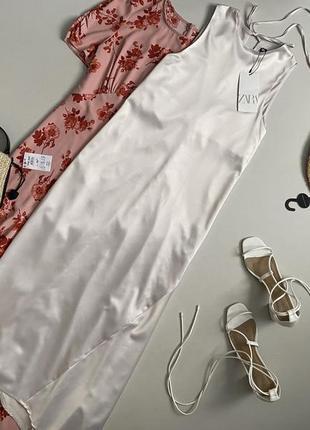 Новое шикарное асимметричное платье миди zara