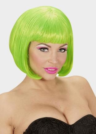 Парик маскарадный каре зеленый + подарок