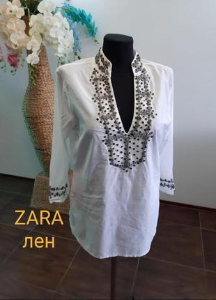 Блуза расшита пайетками этно zara лен
