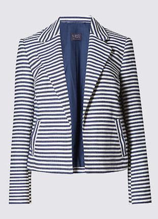 Классный пиджак в полоску с карманами 22/56-58 размера