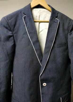 Пиджак в полоску синий лен льняной оверсайз remus uomo