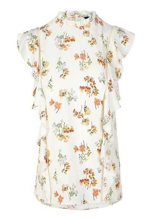 Нежная цветочная блуза с рюшами / большая распродажа!