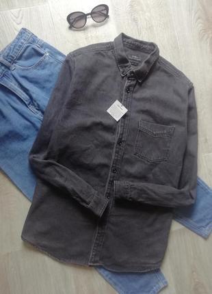 Zara джинсовая рубашка свободного г, сорочка, рубашка оверсайз, рубашка бойфренд, котоновая рубашка графитового цвета