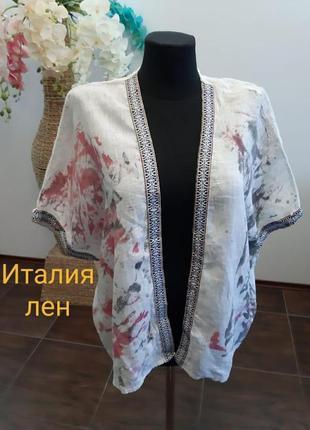 Блуза кофта накидка жакет в принт италия лен