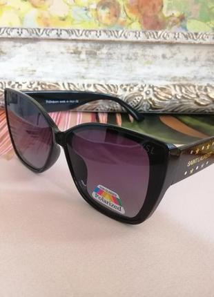 Эксклюзивные чёрные брендовые солнцезащитные женские очки лисички 2021 с поляризацией