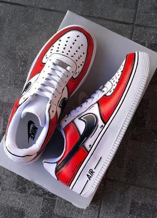 Nike air force white/red/black  кроссовки найк аир форс наложенный платёж купить