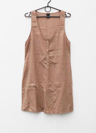 Кофейное летнее легкое хлопковое платье рубашка без рукавов