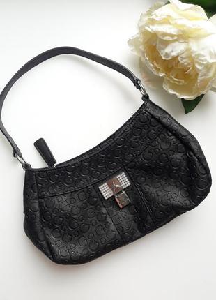 Черная сумка 👝 багет мини сумочка на плечо от guess