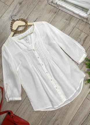 Льняная белоснежная блуза