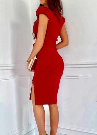 Елегантное платье миди с v-вырезом и разрезом сбоку 🌼6 фото
