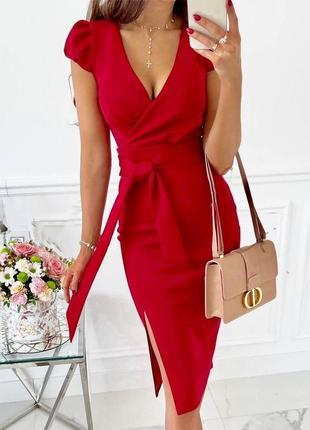 Елегантное платье миди с v-вырезом и разрезом сбоку 🌼3 фото