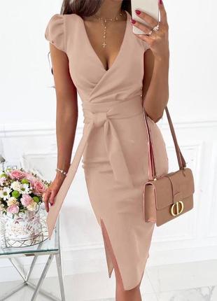 Платье летнее женское длинное миди нарядное легкое с поясом бежевое