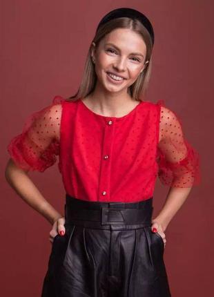 Блуза с сеточкой в горошек блуза з сіточкою в горошок