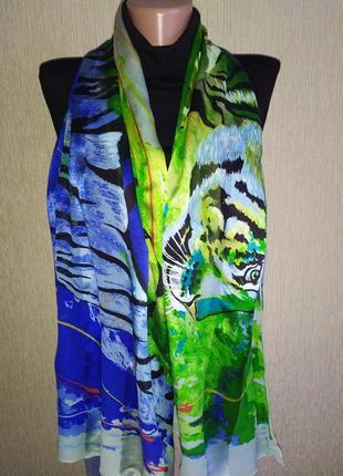 Дизайнерский подписной винтажный1997г. шарф из натурального шелка
