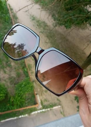 Стильные граненные очки коричневые очки минимализм atmosfera