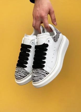 Alexander mcqueen oversized white/zebra кроссовки александр маккуин наложенный платёж купить