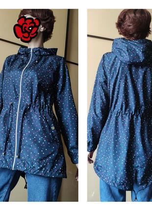 Темно синяя куртка с принтом горох ветровка тренч дождевик от primark 🌧