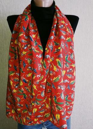 Шёлковый шарф с милыми птичками,шов роуль