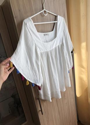 Белая вискозная блузка блуза футболка вискоза батал