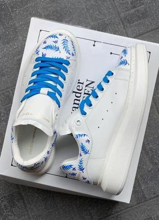 Alexander mcqueen oversized white/blue leaf кроссовки александр маккуин наложенный платёж купить