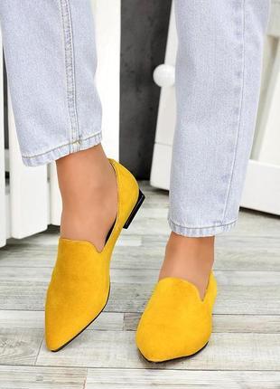 Туфли нарядные яркие модные стильные лодочки цвет горчица