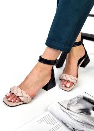 Босоножки кожаные косички, босоножки на низком квадратном каблуке плетенка косичка