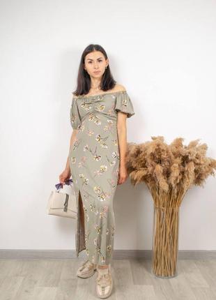 Платье миди макси в цветочный принт сукня в квітковий принт