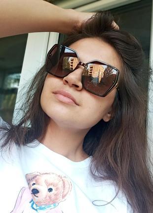 Крутые очки поляризация антиблик италия коричневые крупные очки