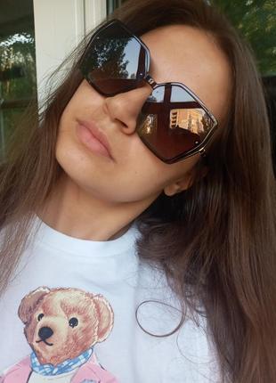 Крутые очки поляризация антиблик италия коричневые крупные очки4 фото