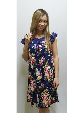 Женская ночная сорочка с цветочным принтом и кружевом