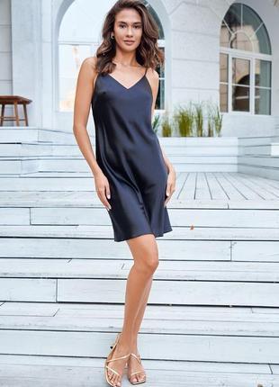 Черное🖤мини платье комбинация шелковое на тонких бретелях с открытой спинкой 6 цветов