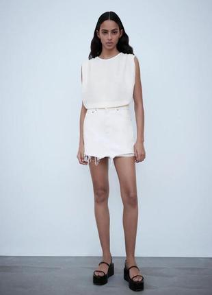 Zara белая джинсовая юбка, s размер, 3643/292/250