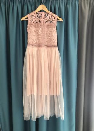 Нежное пудровое кружевное платье мягкий фактин люкс качество
