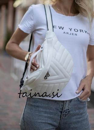Женская бананка белая бананка белая сумка через плечо сумка на пояс бананка стеганая