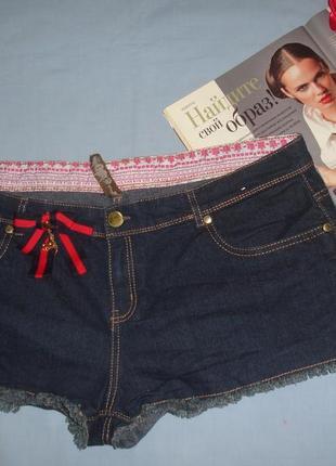 Шорты женские джинсовые размер 52 / 18 синие  стрейчевые короткие