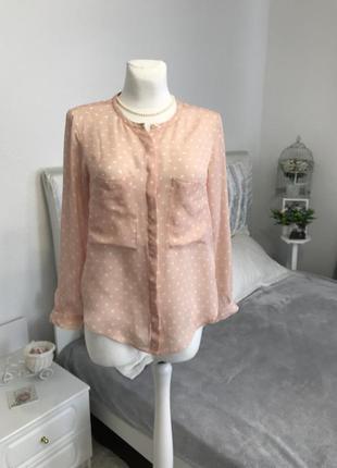 Шелковая блуза из натурального шёлка в горошек