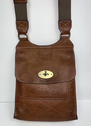 Англия! кожаная фирменная номерная сумка на/ через плечо mulberry.