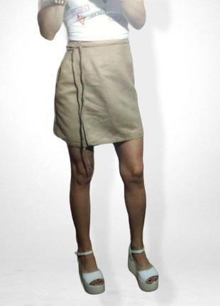 Замшевая юбка цает нюд / бежевый на завязках распродажа.цена снижена boohoo