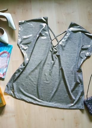 Шикарная золотая блуза- футболка. 20 р-р (54)