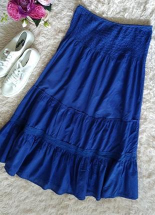 Стильная свободная макси юбка в пол на резинке, с рюшами, ярусами,3 фото