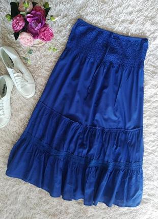Стильная свободная макси юбка в пол на резинке, с рюшами, ярусами,2 фото