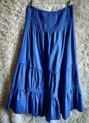 Стильная свободная макси юбка в пол на резинке, с рюшами, ярусами,6 фото