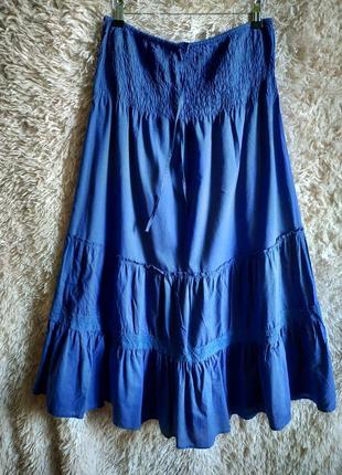 Стильная свободная макси юбка в пол на резинке, с рюшами, ярусами,7 фото
