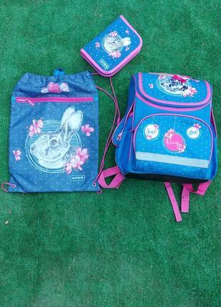 Рюкзак kite для девочки с пеналом и сумкой