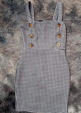 Платье в клеточку платье с пуговицами приталенное платье на бретелях