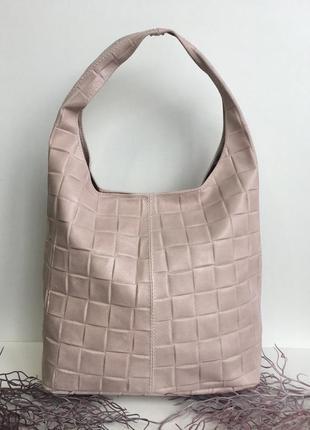 Кожаная сумка шоппер, genuine leather,🇮🇹 италия пудра розовый бежевый на плечо с длинной ручкой большая удобная vera pelle
