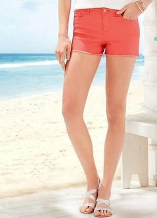 Женские джинсовые шорты короткие коралловые esmara германия р. 42-44