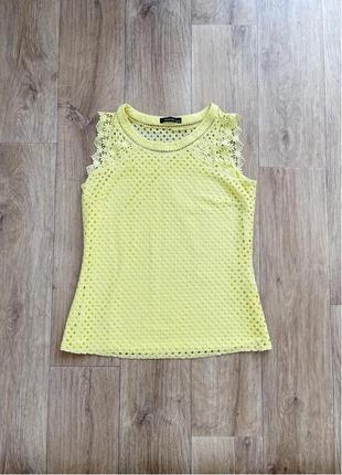 Жёлтая кружевная блуза/топ/майка без рукавов reserved, размер s/8/36