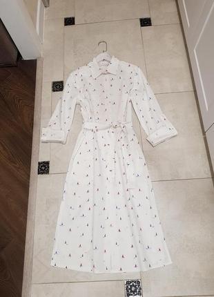 Платье рубашка, туника хлопок, накидка для пляжа, халат, платье мид